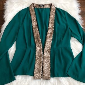 Green beautiful jacket w/gold sequence edge!